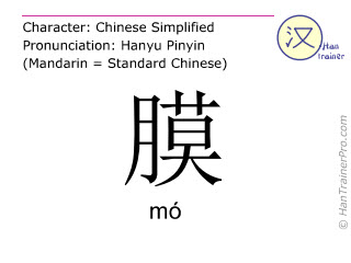 Chinese characters  ( mo / mó ) with pronunciation (English translation: membrane )