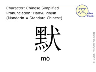 Chinese characters  ( mo / mò ) with pronunciation (English translation: silent )