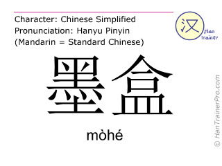 Caracteres chinos  ( mohe / mòhé ) con pronunciación (traducción española: cartucho de tinta )