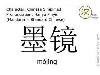 Chinese characters  ( mojing / mòjìng ) with pronunciation (English translation: sunglasses )