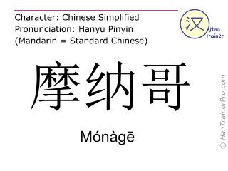 Caracteres chinos  ( Monage / Mónàgē ) con pronunciación (traducción española: Mónaco )