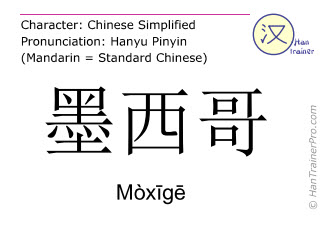 Chinese characters  ( Moxige / Mòxīgē ) with pronunciation (English translation: Mexico )