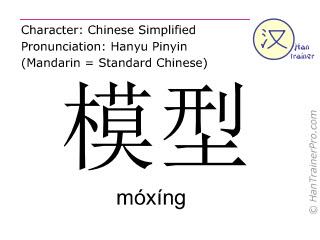 Chinesische Schriftzeichen  ( moxing / móxíng ) mit Aussprache (Deutsche Bedeutung: Modell )