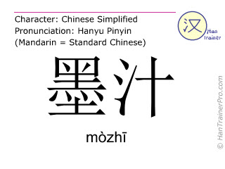 Chinese characters  ( mozhi / mòzhī ) with pronunciation (English translation: ink )