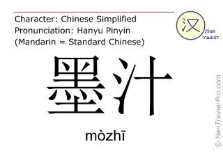 Caracteres chinos  ( mozhi / mòzhī ) con pronunciación (traducción española: tinta )