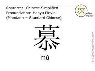 Caracteres chinos  ( mu / mù ) con pronunciación (traducción española: admirar )