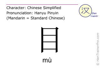 Chinesische Schriftzeichen  ( mu / mù ) mit Aussprache (Deutsche Bedeutung: Auge )