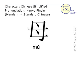 Chinese characters  ( mu / mŭ ) with pronunciation (English translation: mother )