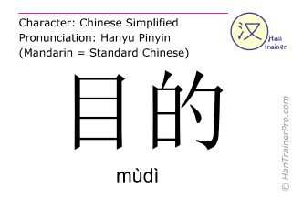 Chinese characters  ( mudi / mùdì ) with pronunciation (English translation: target )