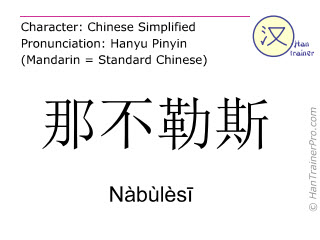 Chinese characters  ( Nabulesi / Nàbùlèsī ) with pronunciation (English translation: Naples )