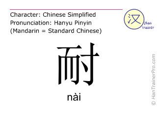 Chinesische Schriftzeichen  ( nai / nài ) mit Aussprache (Deutsche Bedeutung: aushalten )