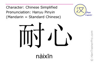 Chinese characters  ( naixin / nàix&#299n ) with pronunciation (English translation: patient )