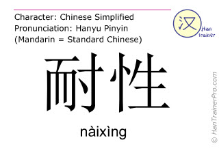 Chinese characters  ( naixing / nàixìng ) with pronunciation (English translation: patience )
