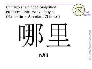 Caracteres chinos  ( nali / năli ) con pronunciación (traducción española: no es nada )