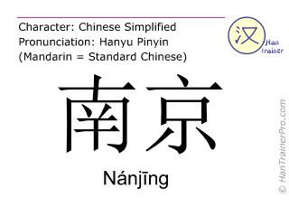 Caracteres chinos  ( Nanjing / Nánjīng ) con pronunciación (traducción española: Nanjing )