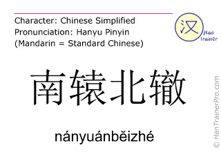 Chinese characters  ( nanyuanbeizhe / nányuánbĕizhé ) with pronunciation (English translation: to act in a way that defeats one's purpose )