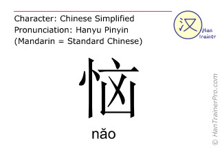 Chinese characters  ( nao / n&#259o ) with pronunciation (English translation: angry )