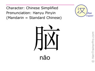 Chinese characters  ( nao / năo ) with pronunciation (English translation: brain )