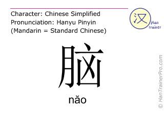Chinesische Schriftzeichen  ( nao / năo ) mit Aussprache (Deutsche Bedeutung: Gehirn )