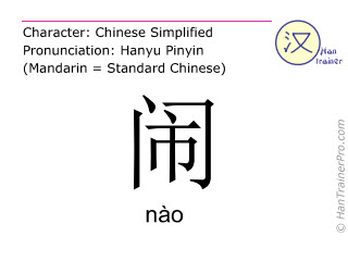 Chinese characters  ( nao / nào ) with pronunciation (English translation: noisy )