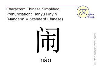 Caracteres chinos  ( nao / nào ) con pronunciación (traducción española: ruidoso )