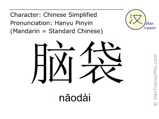 Chinese characters  ( naodai / năodài ) with pronunciation (English translation: head )