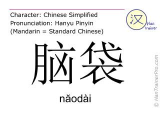 汉字  ( naodai / n&#259odài ) 包括发音 (英文翻译: head )