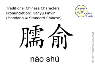 Chinese characters  ( nao shu / nào shù ) with pronunciation (English translation: Small Intestine 10 )