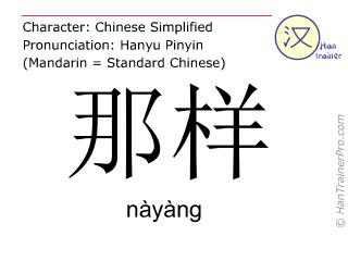 汉字  ( nayang / nàyàng ) 包括发音 (英文翻译: like that )