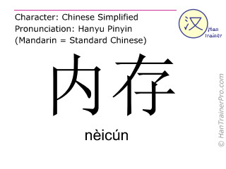 Chinese characters  ( neicun / nèicún ) with pronunciation (English translation: internal memory )
