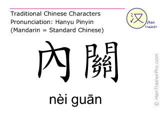 Chinese characters  ( nei guan / nèi guān ) with pronunciation (English translation: Pericardium 6 )
