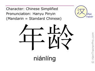 Caracteres chinos  ( nianling / niánlíng ) con pronunciación (traducción española: edad )