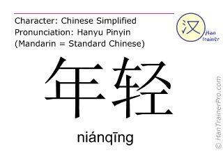 Chinese characters  ( nianqing / niánq&#299ng ) with pronunciation (English translation: young )