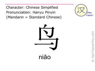 Chinese characters  ( niao / niăo ) with pronunciation (English translation: bird )