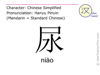 Chinese characters  ( niao / niào ) with pronunciation (English translation: urine )