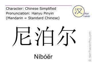 Chinesische Schriftzeichen  ( Niboer / Níbóĕr ) mit Aussprache (Deutsche Bedeutung: Nepal )