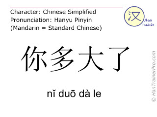 Chinese characters  ( ni duo da le / nĭ duō dà le ) with pronunciation (English translation: How old are you? )
