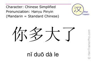 Chinesische Schriftzeichen  ( ni duo da le / nĭ duō dà le ) mit Aussprache (Deutsche Bedeutung: Wie alt bist du? )
