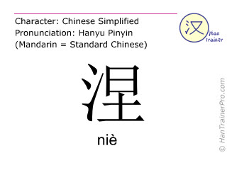 Chinese characters  ( nie / niè ) with pronunciation (English translation: <m>alunite</m> )