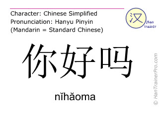 Chinese characters  ( nihaoma / nĭhăoma ) with pronunciation (English translation: how are you )