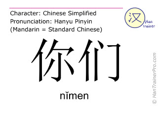 Chinese characters  ( nimen / n&#301men ) with pronunciation (English translation: you )