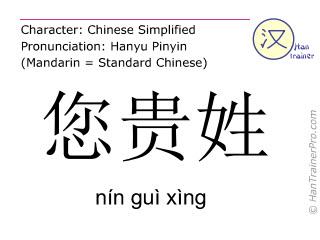 汉字  ( nin gui xing / nín guì xìng ) 包括发音 (英文翻译: what's your name )