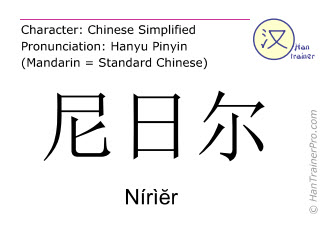 Chinese characters  ( Nirier / Nírì&#277r ) with pronunciation (English translation: Niger )