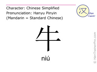 Chinese characters  ( niu / niú ) with pronunciation (English translation: cattle )
