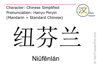 Chinese characters  ( Niufenlan / Niŭfēnlán ) with pronunciation (English translation: Newfoundland )