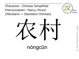 Chinese characters  ( nongcun / nóngcūn ) with pronunciation (English translation: rural areas )