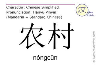 汉字  ( nongcun / nóngcūn ) 包括发音 (英文翻译: rural areas )