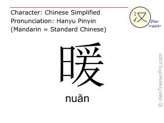 Caracteres chinos  ( nuan / nuăn ) con pronunciación (traducción española: caliente )