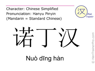 Chinese characters  ( Nuo ding han / Nuò d&#299ng hàn ) with pronunciation (English translation: Nottingham )