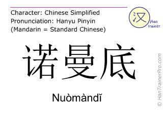 Caracteres chinos  ( Nuomandi / Nuòmàndĭ ) con pronunciación (traducción española: Normandía )